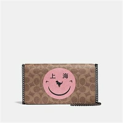Fashion 4 Coach CALLIE FOLDOVER CHAIN CLUTCH IN SIGNATURE CANVAS WITH REXY BY YETI OUT