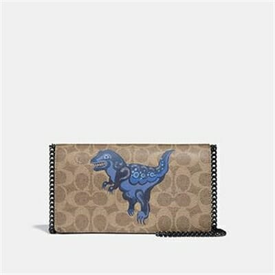 Fashion 4 Coach CALLIE FOLDOVER CHAIN CLUTCH IN SIGNATURE CANVAS WITH REXY BY ZHU JING