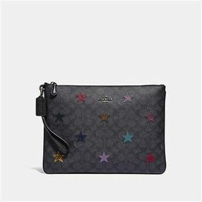 Fashion 4 Coach LARGE WRISTLET 30 IN SIGNATURE CANVAS WITH STAR APPLIQUE AND SNAKESKIN