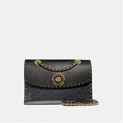 Fashion 4 Coach PARKER IN SIGNATURE CANVAS WITH RIVETS AND SNAKESKIN DETAIL