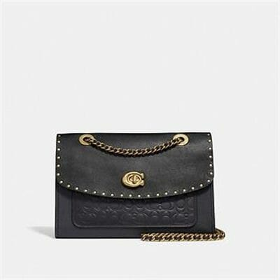 Fashion 4 Coach PARKER SHOULDER BAG IN SIGNATURE LEATHER WITH RIVETS