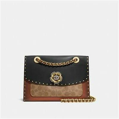 Fashion 4 Coach PARKER WITH BORDER RIVETS AND SNAKESKIN DETAILS