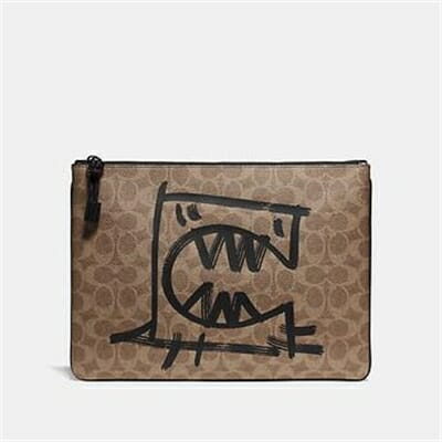 Fashion 4 Coach POUCH 30 IN SIGNATURE CANVAS WITH REXY BY GUANG YU