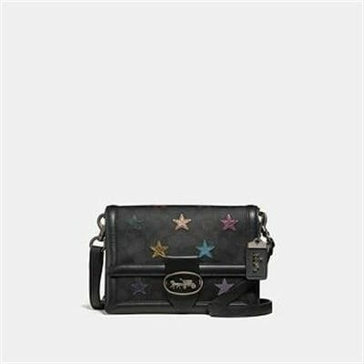Fashion 4 Coach RILEY SHOULDER BAG IN SIGNATURE CANVAS WITH STAR APPLIQUE AND SNAKESKI