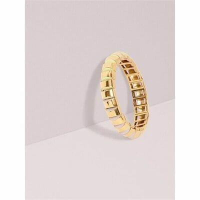 Fashion 4 - sliced scallops small metal stretch bracelet