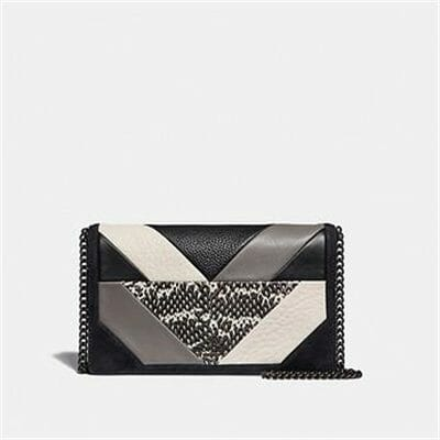 Fashion 4 Coach CALLIE FOLDOVER CHAIN CLUTCH WITH PATCHWORK AND SNAKESKIN DETAIL