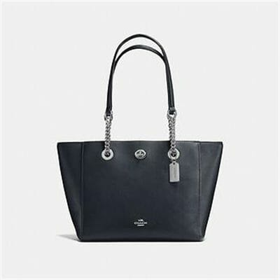 Fashion 4 Coach TURNLOCK CHAIN TOTE IN POLISHED PEBBLE LEATHER