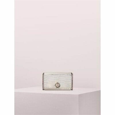 Fashion 4 - romy metallic croc-embossed chain wallet