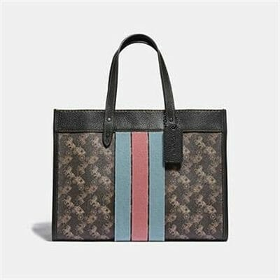 Fashion 4 Coach FIELD TOTE 30 WITH HORSE AND CARRIAGE PRINT AND VARSITY STRIPE