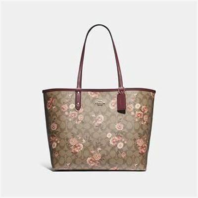 Fashion 4 Coach REVERSIBLE CITY TOTE IN SIGNATURE CANVAS WITH PRAIRIE DAISY CLUSTER PR