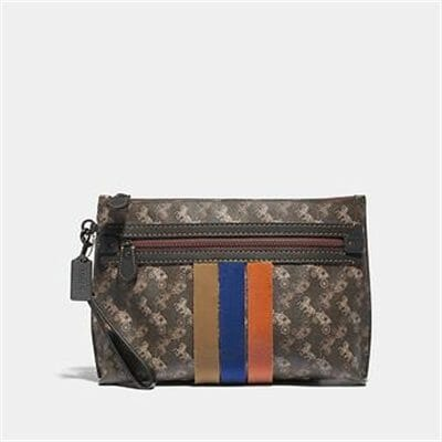 Fashion 4 Coach ACADEMY POUCH WITH HORSE AND CARRIAGE PRINT AND VARSITY STRIPE