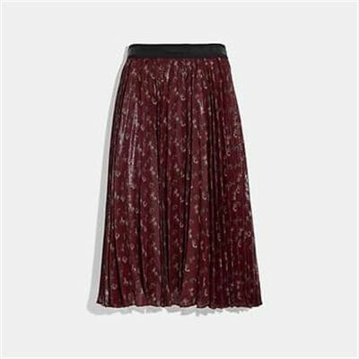 Fashion 4 Coach LUNAR NEW YEAR HORSE AND CARRIAGE PRINT PLEATED SKIRT
