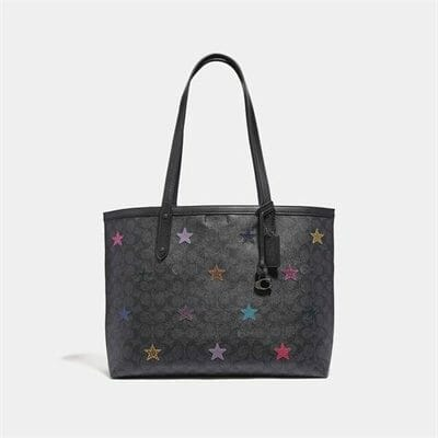 Fashion 4 Coach Central Tote In Signature Canvas With Star Applique And Snakeskin Detail