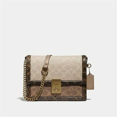 Fashion 4 Coach Hutton Shoulder Bag In Blocked Signature Canvas With Snakeskin Detail