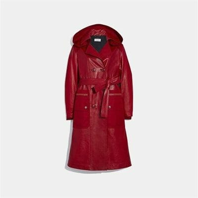 Fashion 4 Coach Leather Trench With Ruching Detail