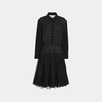 Fashion 4 Coach Plaid Pleated Shirt Dress