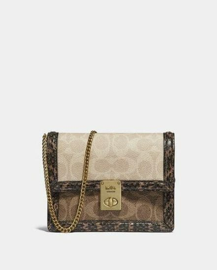 Fashion 4 Coach Hutton Belt Bag In Blocked Signature Canvas With Snakeskin Detail