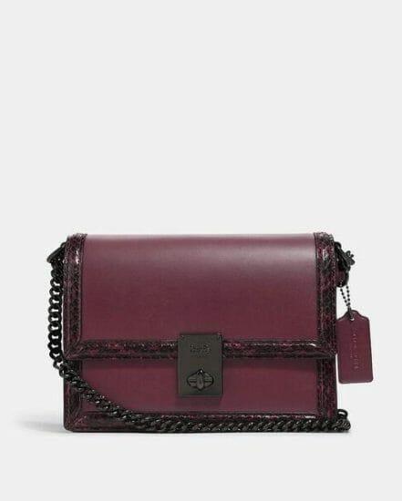 Fashion 4 Coach Hutton Shoulder Bag With Snakeskin Detail