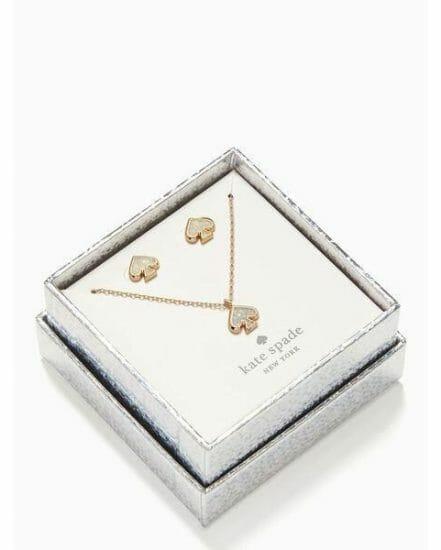 Fashion 4 - everyday spade glitter studs and pendant set