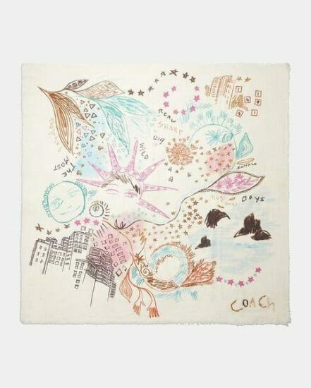 Fashion 4 Coach Embroidered Dream Doodle Print Oversized Square Scarf