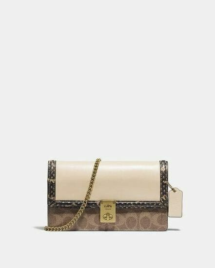 Fashion 4 Coach Hutton Clutch In Signature Canvas With Snakeskin Detail