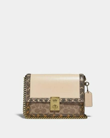 Fashion 4 Coach Hutton Shoulder Bag In Signature Canvas With Snakeskin Detail