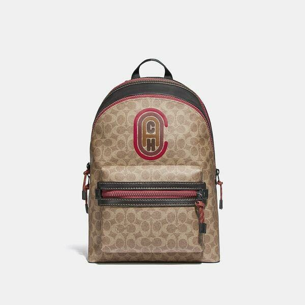 Fashion 4 Coach Academy Backpack In Signature Canvas With Coach Patch