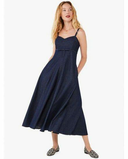 Fashion 4 - denim bow-waist dress