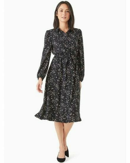 Fashion 4 - scattered stars button-front shirtdress