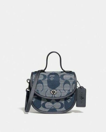 Fashion 4 Coach BAPE x Coach Mini Top Handle Saddle Bag In Signature Chambray
