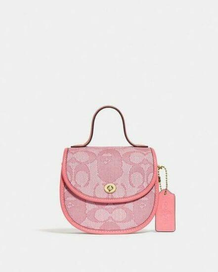Fashion 4 Coach BAPE x Coach Mini Top Handle Saddle Bag In Signature Jacquard